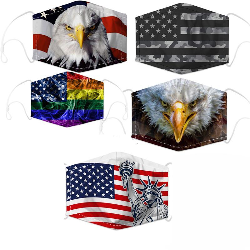 2020 Trump Amerikan Seçim Malzemeleri Yüz ABD Bayrağı Baskı Ayarlanabilir Yıkanabilir Yeniden kullanılabilir Koruyucu Bisiklet Yüz Maskeleri Maske