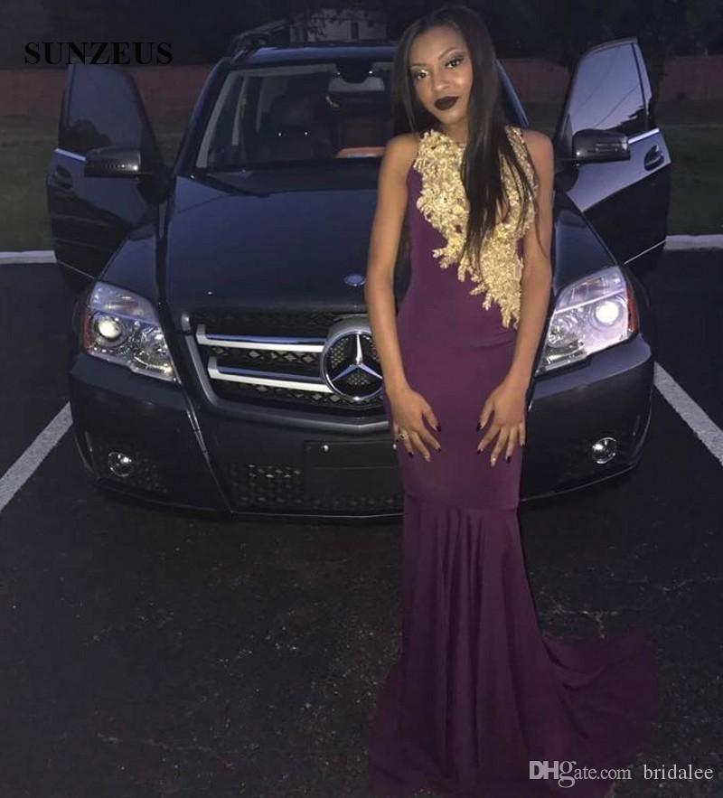 2019 Purple Prom Dresses With Gold Lace Appliques Mermaid Prom Long Elegant Dresses Black Girls Jersey Party Gowns