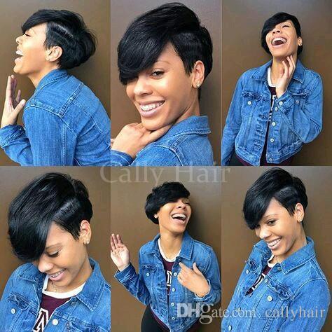 Indian Hair Cheap Human Brazilian Hair Layered Pixie Cut Wig Long Bangs Short Bob Wigs for Black Women Straight Full Lace Wig