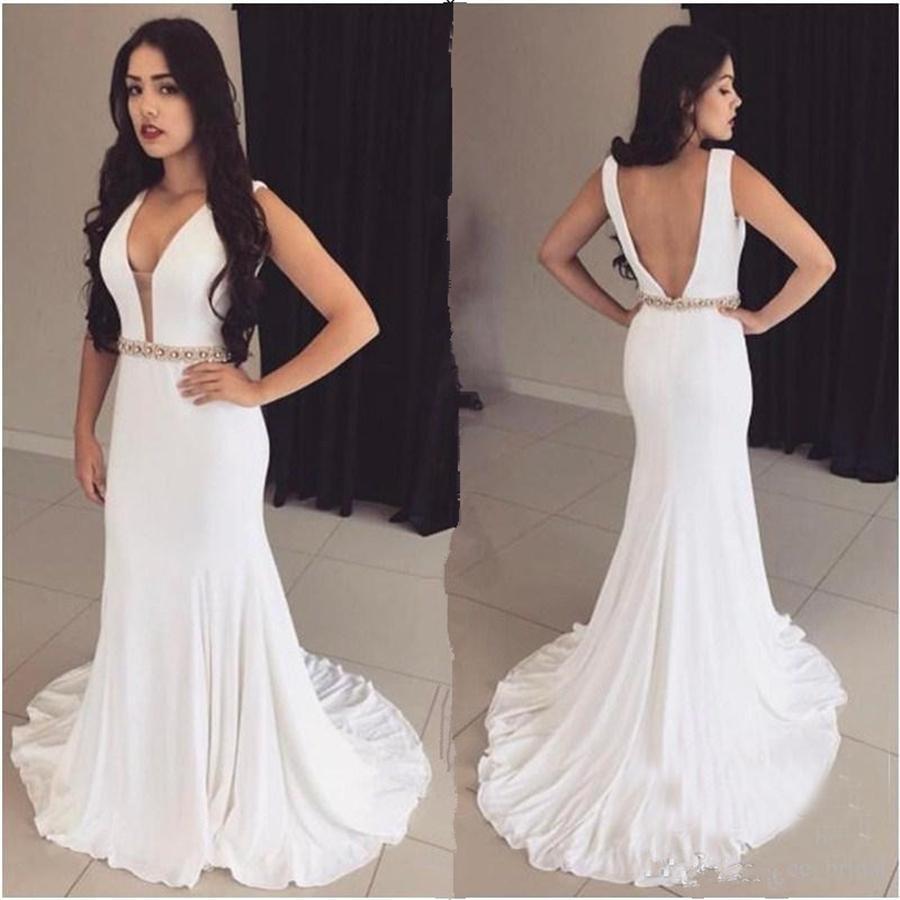 BODYCON sapanlar Beyaz Kolsuz Kristaller Modest Abiye Boncuk Kanat Denizkızı Abiye Açık Geri vestidos de formatura curto
