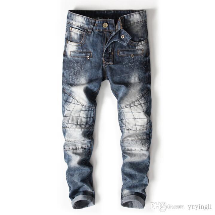 Pas cher moto jeans hommes Couture personnalité petit droit punk biker jeans hommes pantalons pantalons en denim masculin styliste de mode masculino