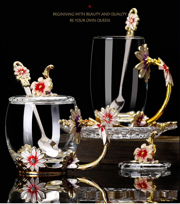 2020 Creative Designer Special Transparent Crystal Carve patterns daisy Glass Cup For water tea Home Drinking Ware wedding gift