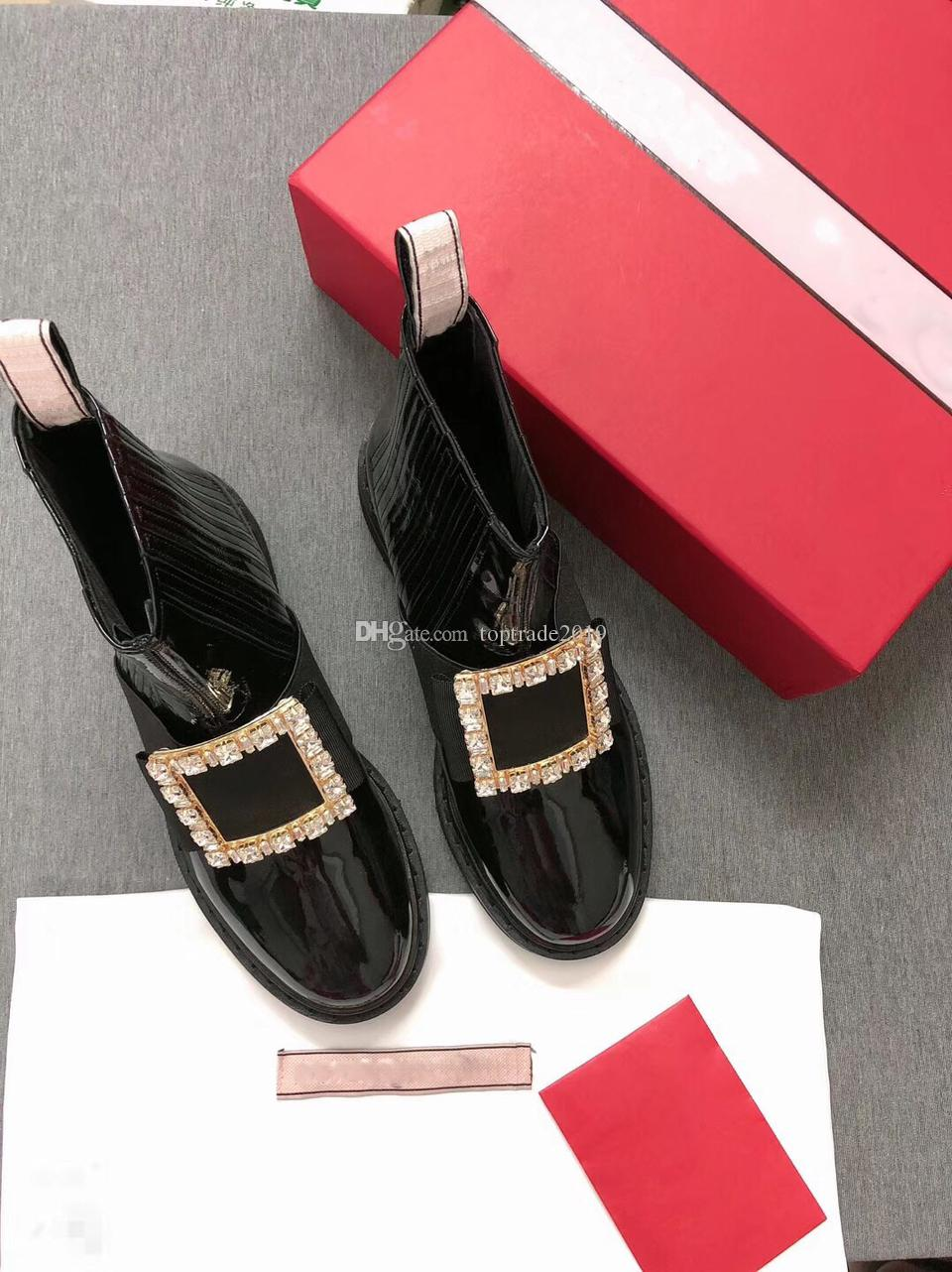 Damenschuhe Lackleder Damen Stiefeletten Strass Schnalle flache Schuhe Slip-On High Top Boot mit Kristall verschönert