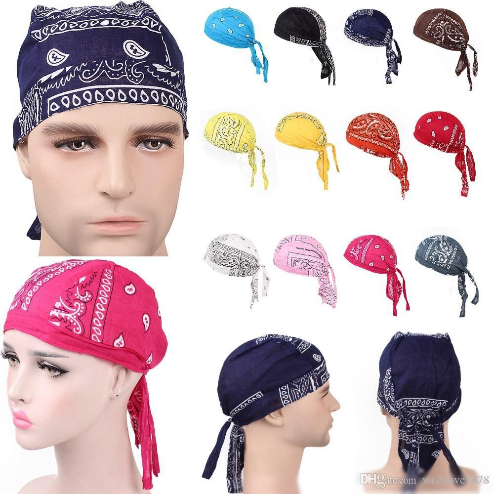 럭셔리 남여면 Durags 두건 터번 모자 해적 가발 두 Durag 자전거 모자 머리띠 해적 모자 승마 헤어 액세서리 캡 모자