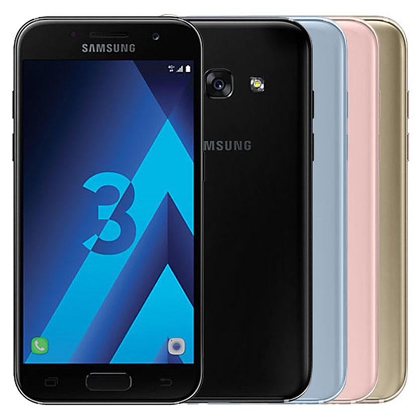 Refurbished Original Samsung Galaxy A3 2017 A320F 4.7 inch Octa Core 2GB RAM 16GB ROM 13MP 4G LTE Smart Cell Phone Free DHL 1pcs