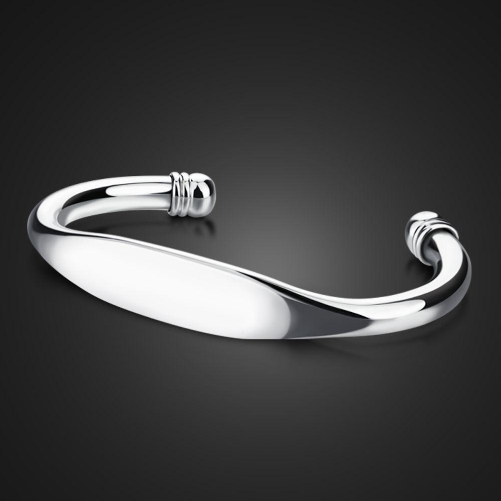 Bracciale da donna in argento sterling 925, stile conciso, design liscio del bracciale, apertura da donna Bracciale in argento massiccio Gioielli alla moda in argento