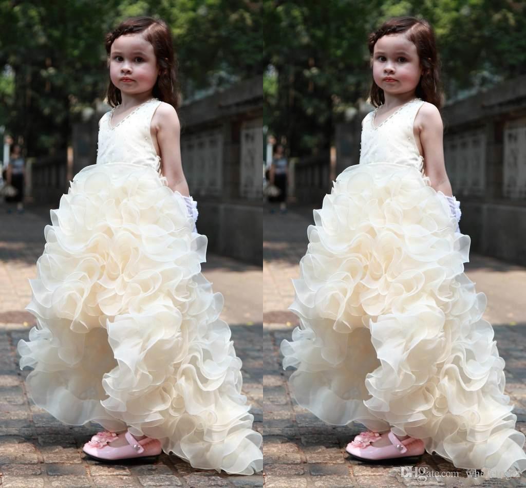 Güzel 2019 Yeni Çiçek Kız Elbise Düğün İçin Doğum Günleri Prenses Parti Kızlar Pageant Kolsuz İlk Communion Elbise Çocuklar Gençler Için