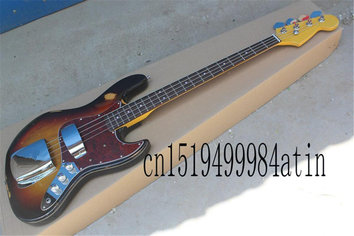 Free Shipping New Arrival Custom body Guitar Left handed JAZZ Bass 4 Strings Vintage Bass Electric Guitar