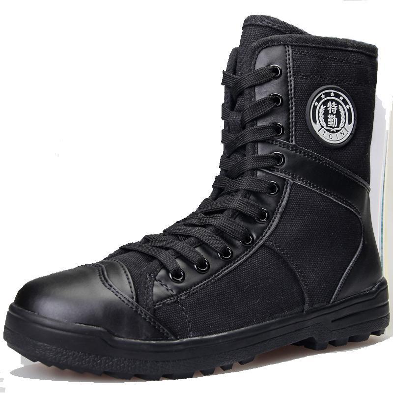 2019 جديدة عالية قماش أحذية الرجال المطاط الأسود الأحذية العسكرية الجيش الوحيد والأحذية التكتيكية