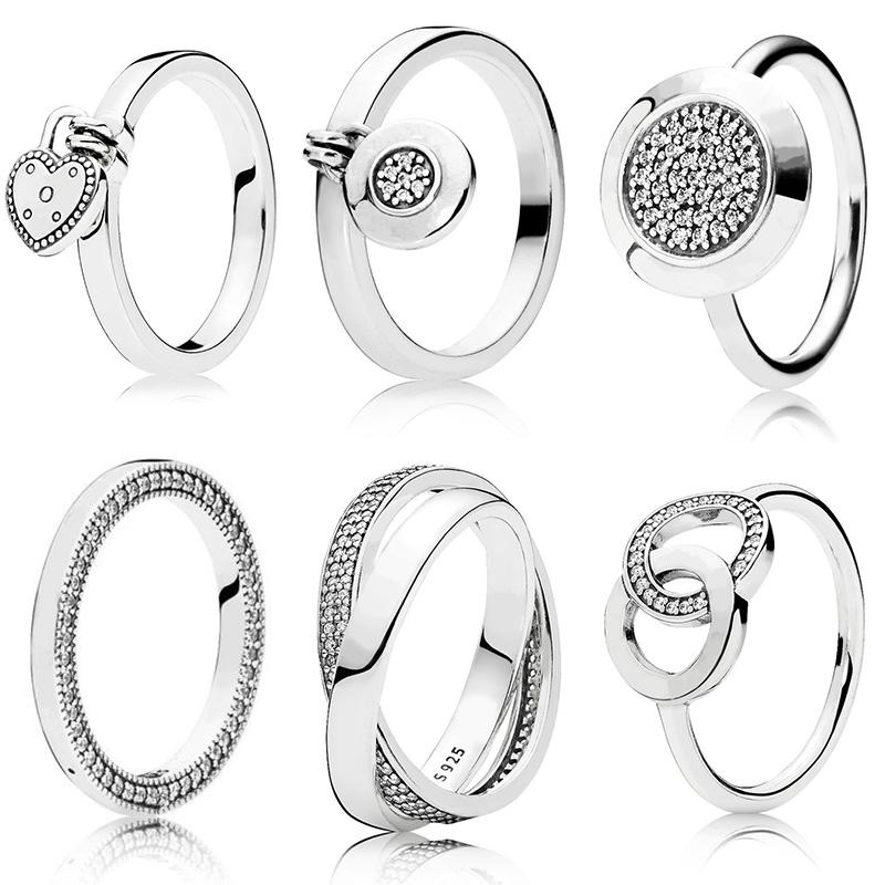 100% 925 Sterling Silver Women Silver Color Color Rings Jewelry Signature Crystal Pan Heart Pendant Ring For Women Jewelry