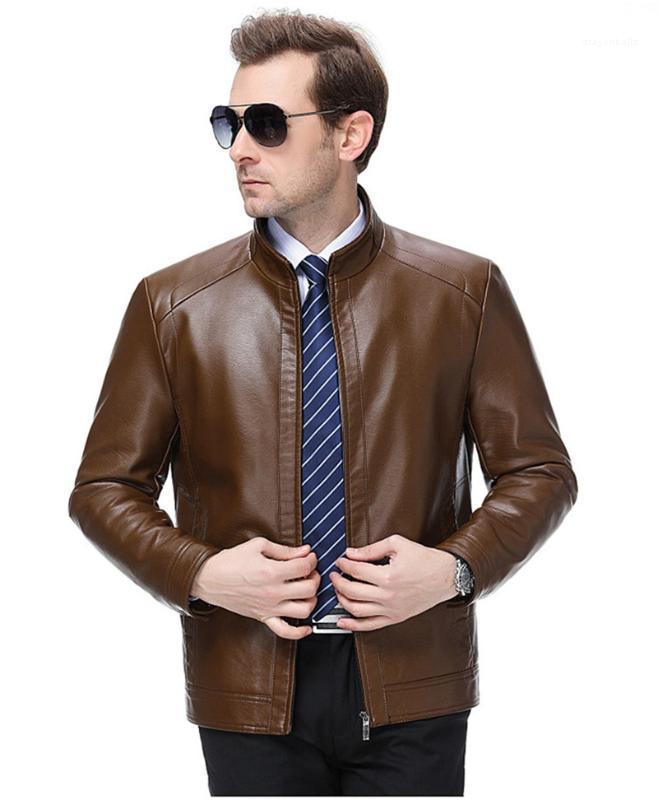 Casual cuello de solapa Hommes prendas de vestir exteriores para hombre abrigos de invierno de cuero del diseñador collar del soporte de manga larga para hombre individuales chaquetas