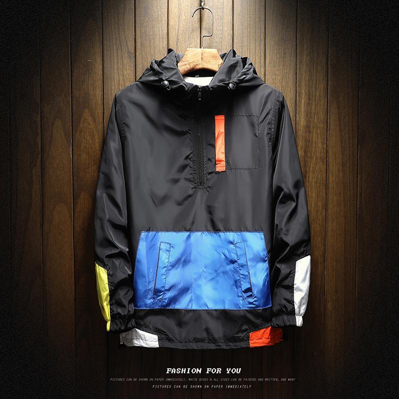 Мода-2019 Осень мужская куртка плюс размер 5XL Сыпучие Colorblock Толстовки Бомбардировщик куртки бейсбола Равномерное Ветровка Streetwear пальто