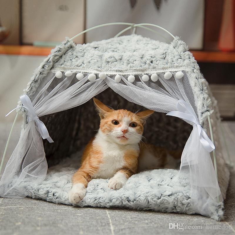 Зимняя теплая кошачья кровать складная маленькая кошачья палатка домик котенок для собак корзина кровати милые кошачьи домики домашняя подушка питомник домашних животных продукты