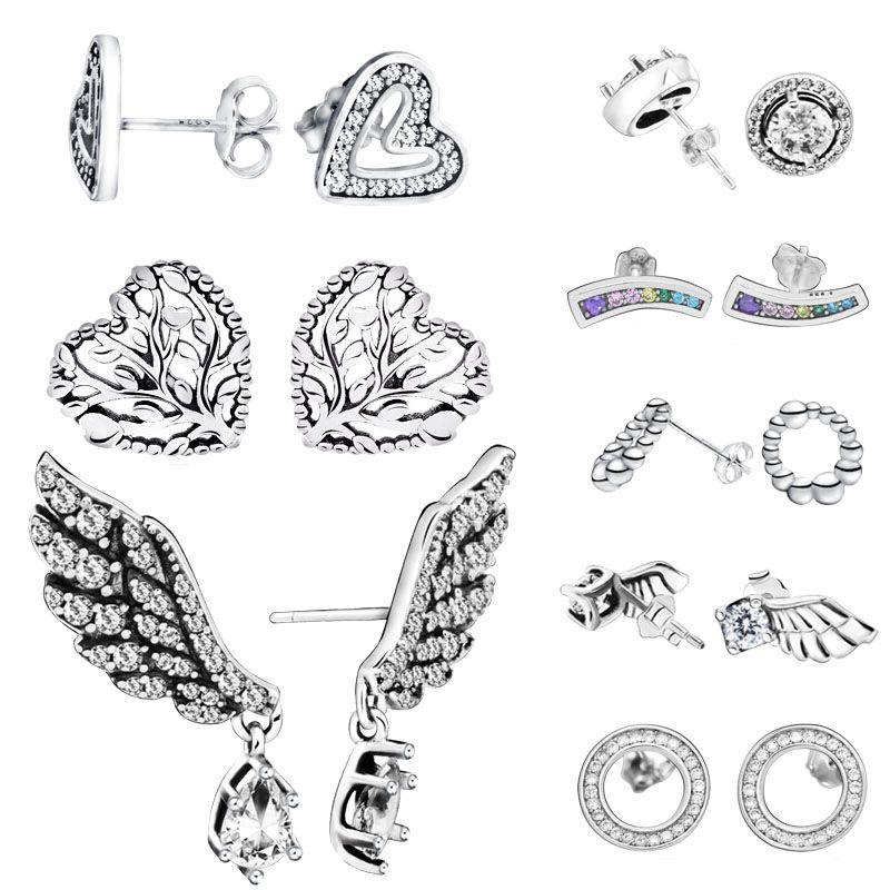 Мода стерлингового серебра 925 серег игристые Angel Wing сердце серьги для женщин ювелирные изделия
