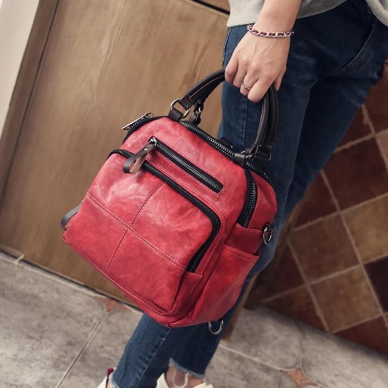 Viajes nuevo estilo del otoño de las mujeres del hombro real Serraje Bolso de cuero de los bolsos del mensajero casual asa superior bolsas mochilas T200522