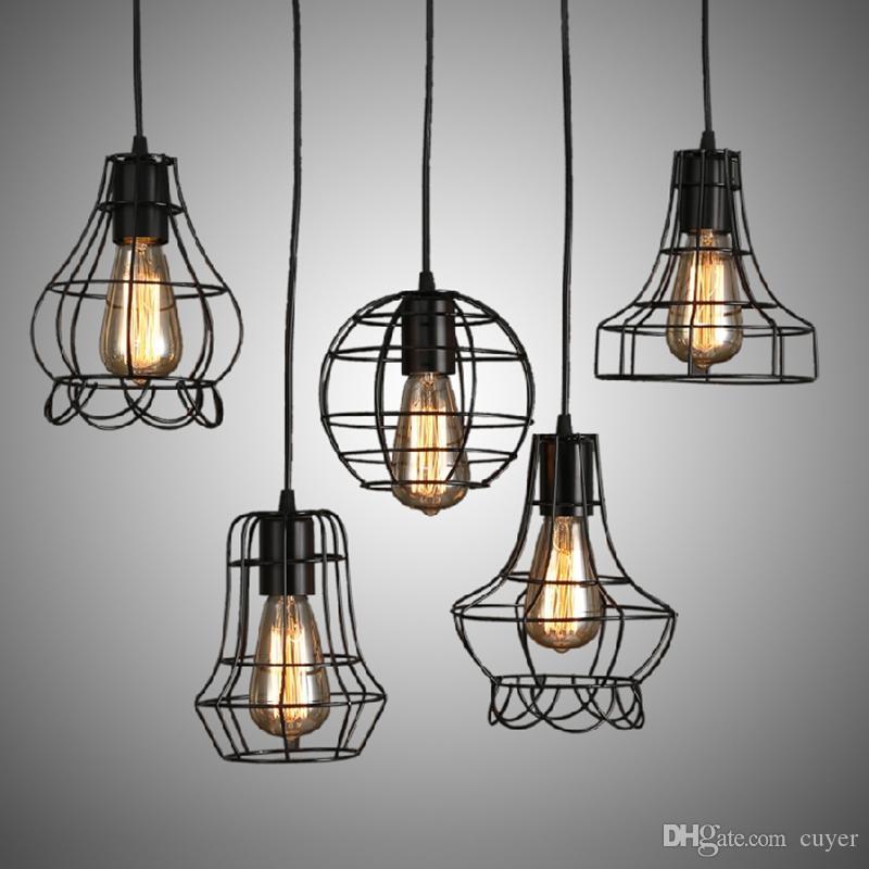 Loft retro annata ferro industriale luci del midollo gabbia lampada a sospensione nera illuminazione per sala da pranzo camera da letto ufficio bar