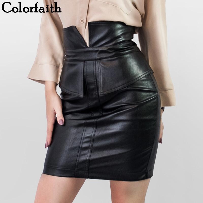 Colorfaith Nova 2019 Mulheres PU Leather Skirt Outono lápis Inverno Patchwork Package Moda Feminina Hip Slit Mini Saia SK9253