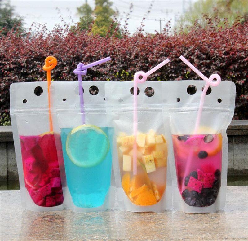 100pcs Limpar bebida bolsas Bolsas fosco Zipper Stand-up plástico Beber saco com palha com suporte Reclosable ST454 17 onças Heat-Proof