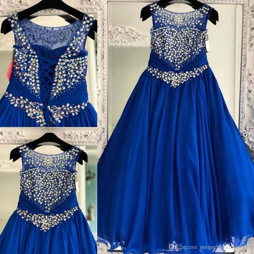 2019 Mädchen-Festzug-Kleider Royal Blue Größe mit Lace Up und Jewel Neck Reale Abbildungen Chiffon- kleine Mädchen Abendkleider Sweep Zug