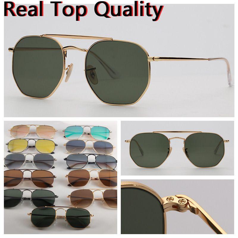 Designer óculos de sol Mens óculos de sol hexagonal ponte dupla mulheres óculos de sol UV lentes de vidro com estojo de couro, e todos os pacotes de varejo
