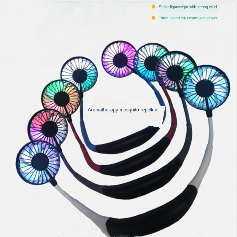 Trois génération de charge USB petit ventilateur électrique du ventilateur extérieur cou suspendu paresseux sport portable cou suspendu aromathérapie petit ventilateur