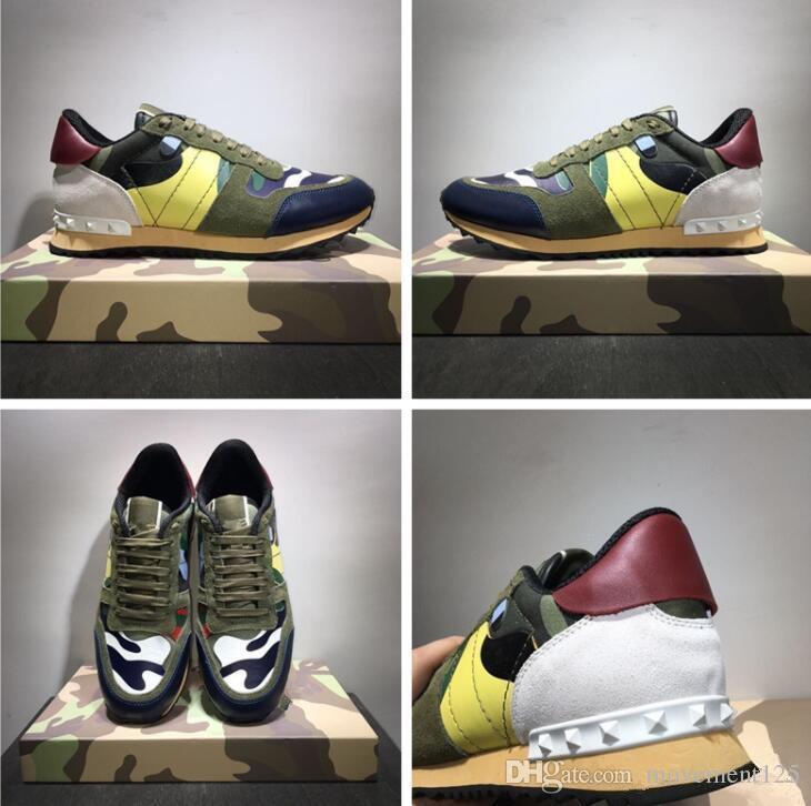 Yeni ayakkabılar [Orijinal Kutusu] Moda Stud Kamuflaj Sneakers Ayakkabı Ayakkabı Erkek, Kadın Flats Lüks Tasarımcı Rockrunner Eğitmenler Günlük Ayakkabılar