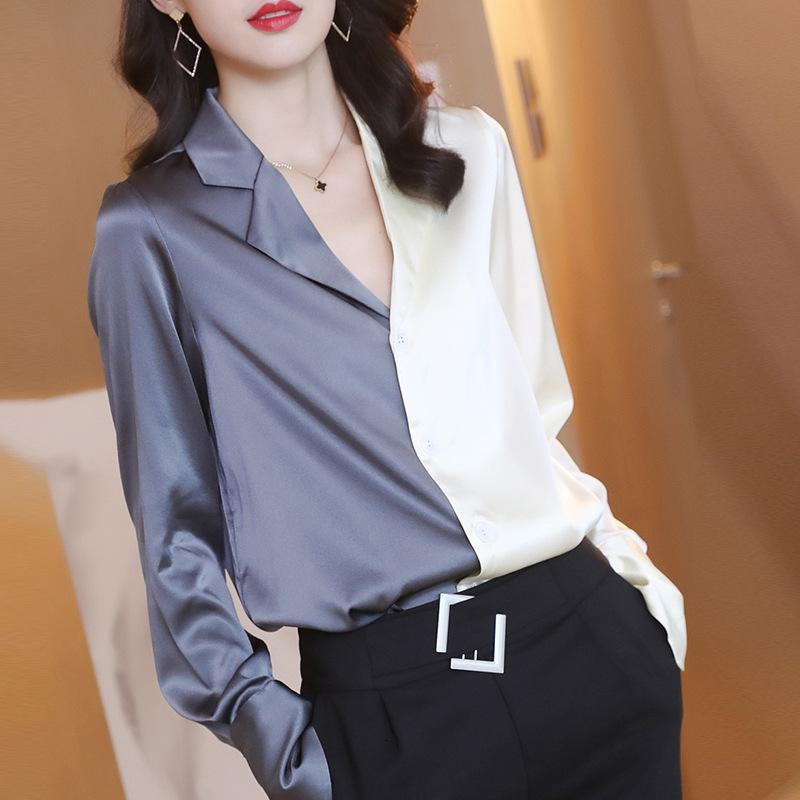 Mulberry Silk Woman Fashion Splice Camisa Casual Solta Patchwork Manga Longa Blusa De Seda Feminina Home Wear Tops HD2092