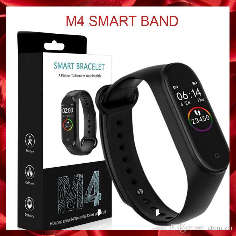 M4 inteligente Banda de Fitness Rastreador relógio de pulseira de freqüência cardíaca relógio inteligente 0,96 polegadas Smartband Health Monitor Pulseira