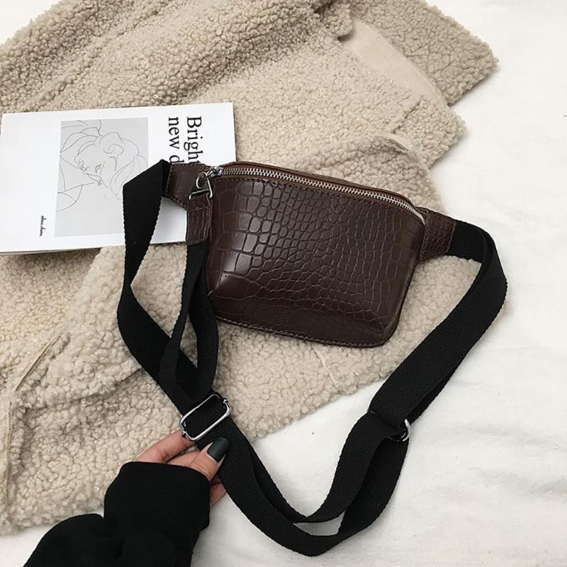 Saco da cintura Estilo Pinshang Mulheres Retro Pedra Grain Casual Satchel Simples