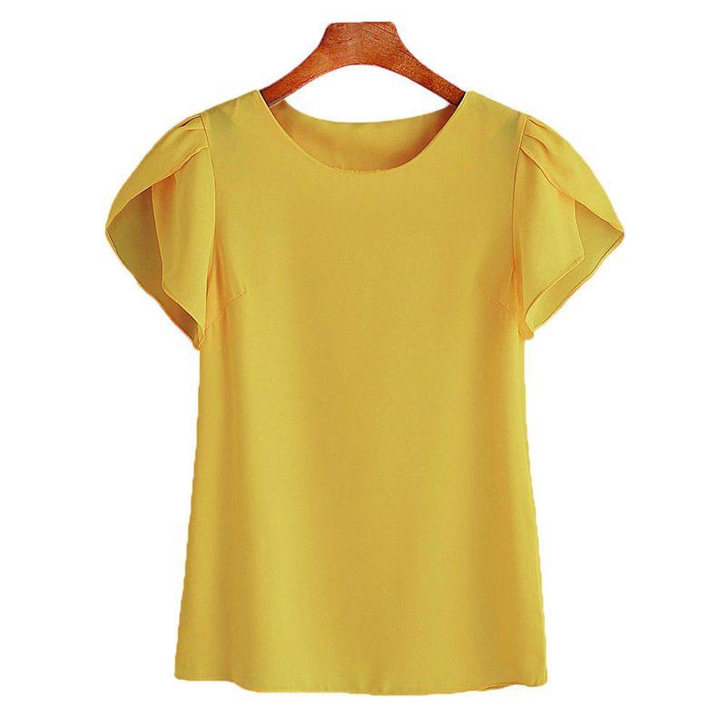 Женщины с коротким рукавом блузки повседневные женские Blusas топы одежда шифон женские корейские рубашки женские топы розовый плюс размер 2XL
