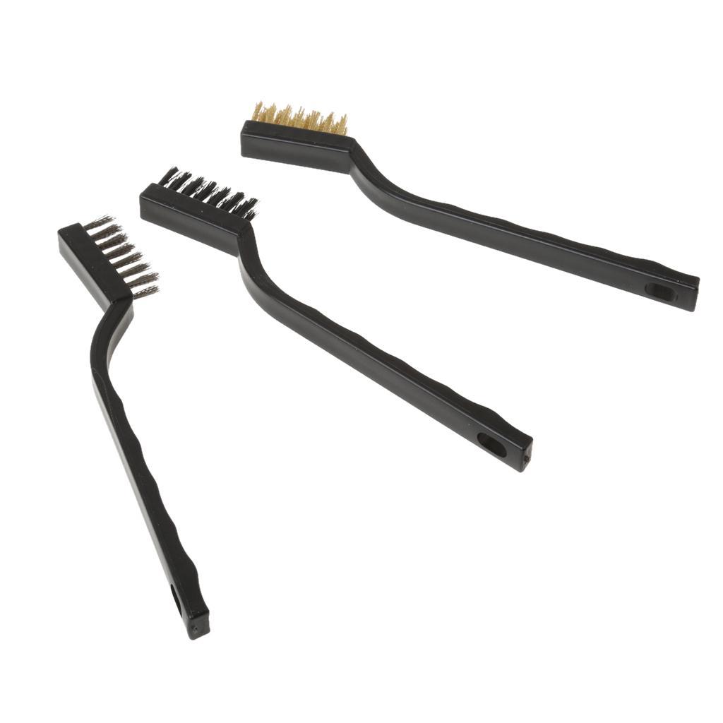 3pieces Wire corredo della spazzola di pulizia della ruggine superficie di metallo lucidatura saldatura Garage strumento Nylon Ottone Spazzole in acciaio inossidabile