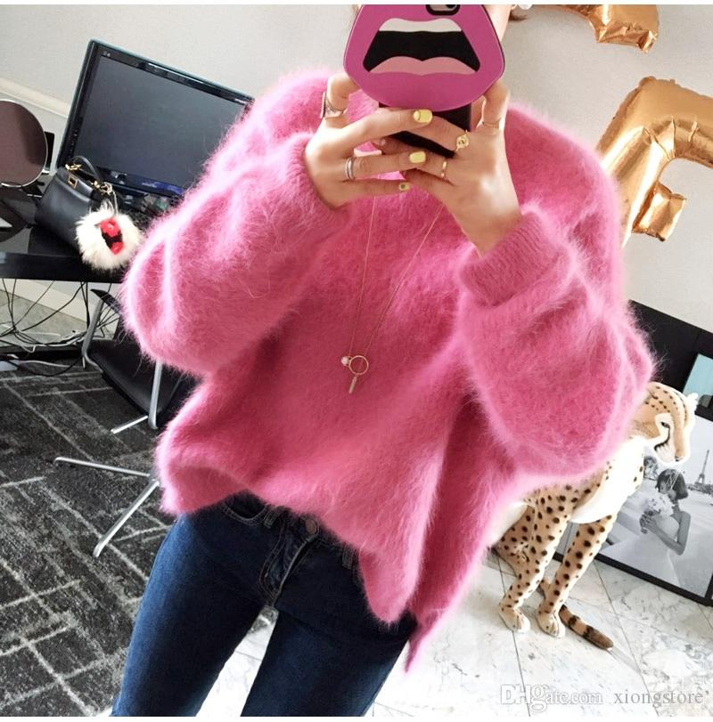 Rosa 2019 coreano longa Sleeev Sólidos falso vison Cashmere Plush Mulheres Sweater Outono Pullover Inverno malha frouxa Side dividida camisola Jumper Top