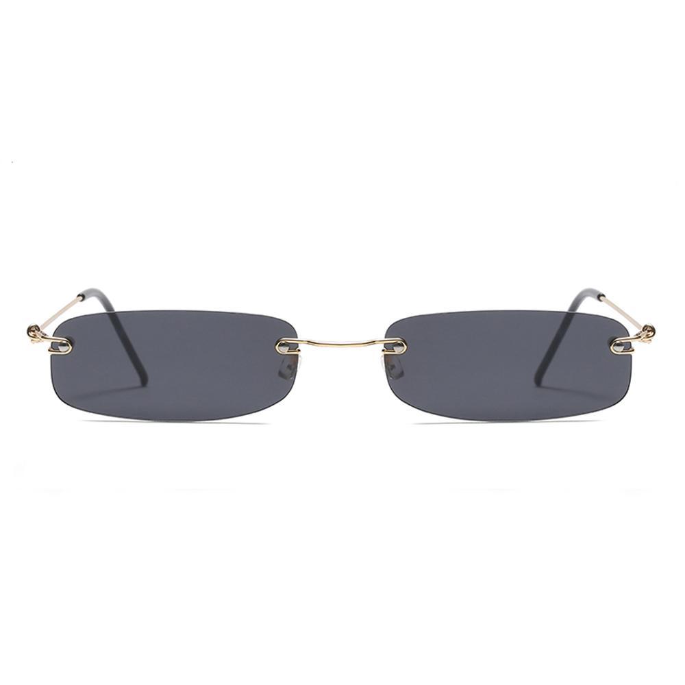 Gafas de sol estrechas para hombres sin montura de verano rojo azul negro gafas de sol rectangulares para mujer pequeña cara venta caliente