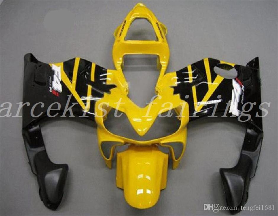 Las ventas calientes carenados nuevo Moldeo por inyección de ABS motocicleta Fit Kits para HONDA CBR600RR F4i 2004 2005 2006 2007 libre de la aduana Negro Amarillo