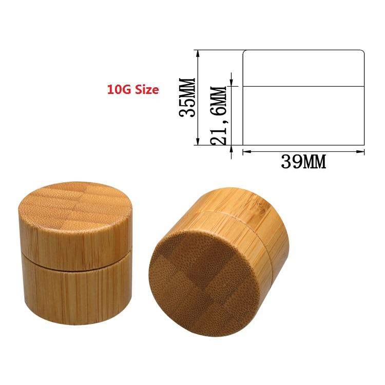Bamboo Cream Jar PP Plastic Container 10G 20G 30G 50G Empty Refillable Bottle Cosmetic Packaging Pot Bamboo Wooden Jar (1)