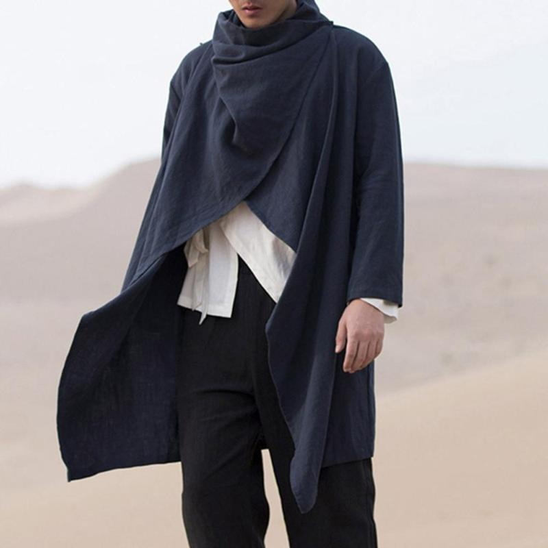 Men Retro Jackets Coat Solid Scarf Collar Casual Irregular Trench Long Sleeve Cloak Cotton Stylish Mens Windbreaker 2020