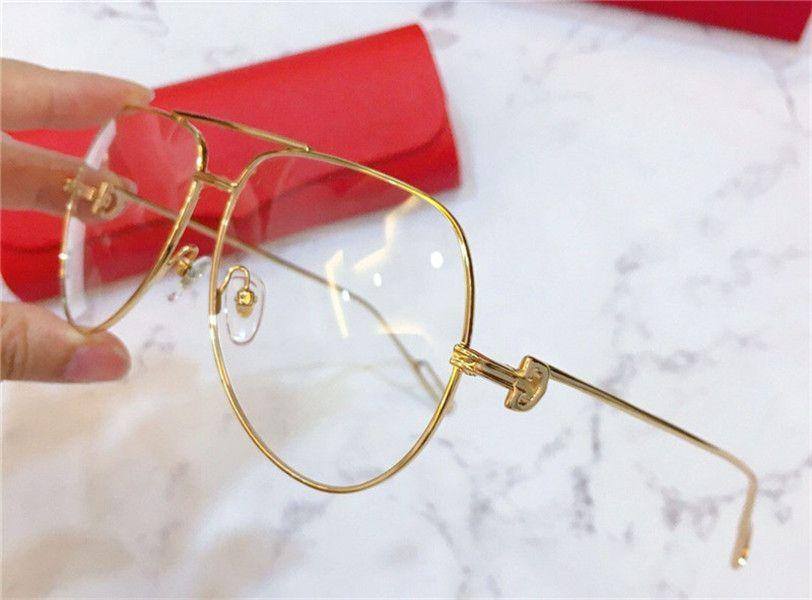 Nouveau design monture de lunettes optique grand style vintage plaqué or pilote 0116 cadres de protection unisexe peuvent être utilisés pour des lunettes