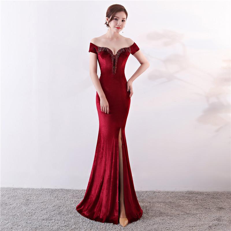 Femmes Élégant Sexy Appliques Velours Vin Rouge Hors Épaule Col En V Longue Sirène Mince Fente Club Robe de Soirée Vestidos