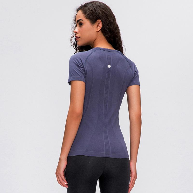 2020 весной и летом новые дамы с короткими рукавами вокруг шеи спортивных футболок работают фитнес рубашка Тонкие дышащие йоги с коротким рукавом L-028