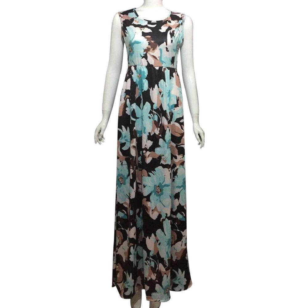 Women Dress Summer Dress Beach Long Women Dresses Sleeveless Floral Print Maxi With Pockets Pius Size Suit Womens