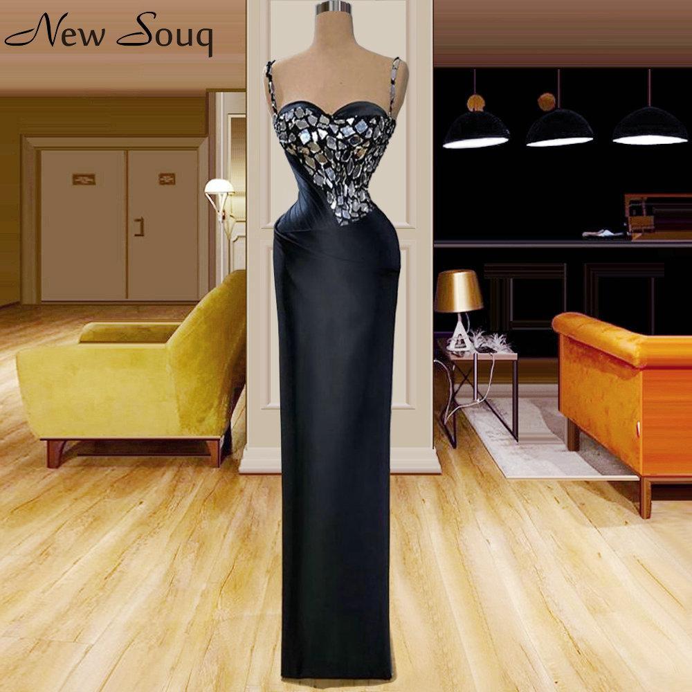 Noir spaghetti sirène robes de soirée 2020 cristal longueur de plancher Robes formelles Robe De Soiree Style arabe