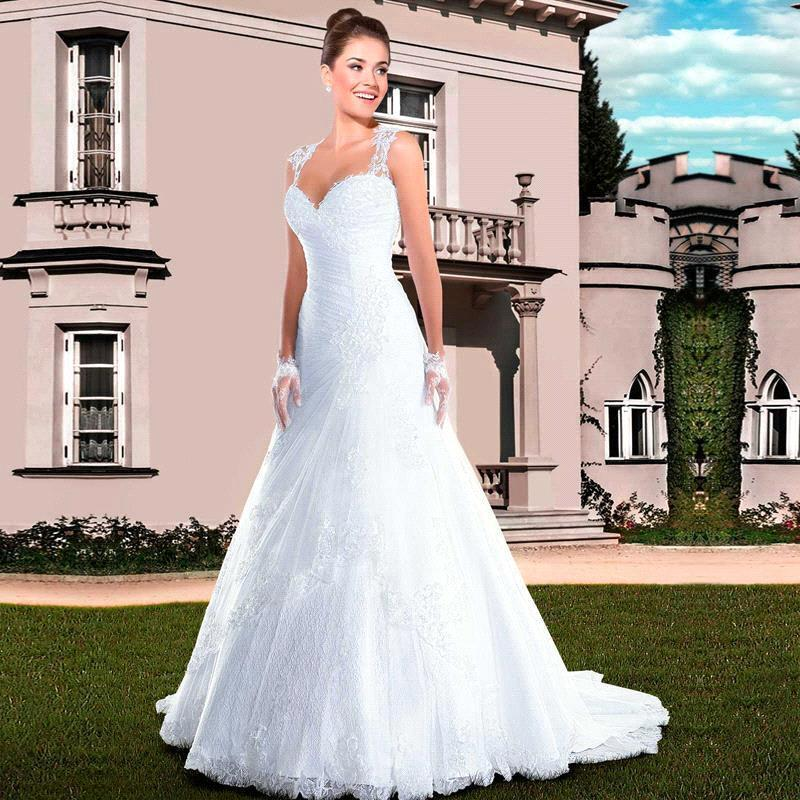 2020 Neu! See Through Zurück Vintage Wedding Brautkleid-Nixe-Kleid-Schatz-Spitze Brautkleider