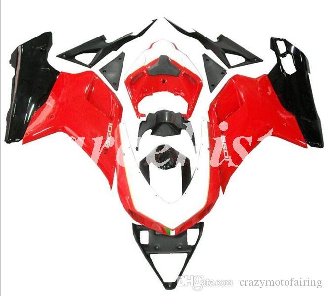 Yeni ABS Enjeksiyon Tam Kalafatlama Setleri Fit Ducati 848 için evo 1098 1198 2007 2008 2009 2010 2011 2012 Gövde Özel Kırmızı Siyah set