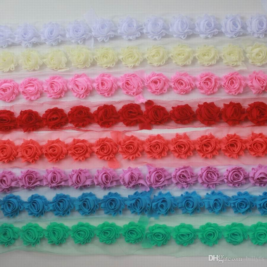"""DHL / EMS libre 60y 1.5"""" gasa pequeña deshilachados flores para los bebés de la venda de los accesorios, equipos de flores, flores de pelo clip de la muchacha del pelo"""