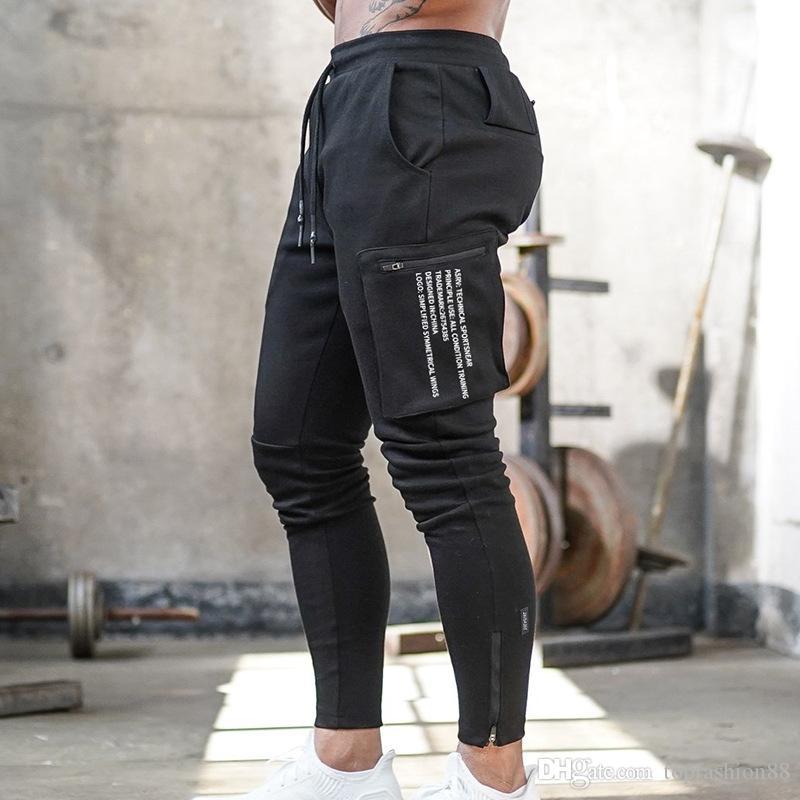 Pocket Casual Sports de plein air d'homme Pantalons Cargo pour les garçons Automne Fitness jogging Drawstring Pantalons Sweatpants