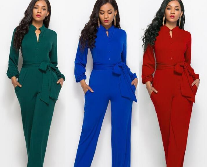 hot Fashion Women Jumpsuit Long Pants Rompers Sleeveless V-neck Summer Wide Leg Pants Jumpsuits With Belt Sexy Club Party Overalls