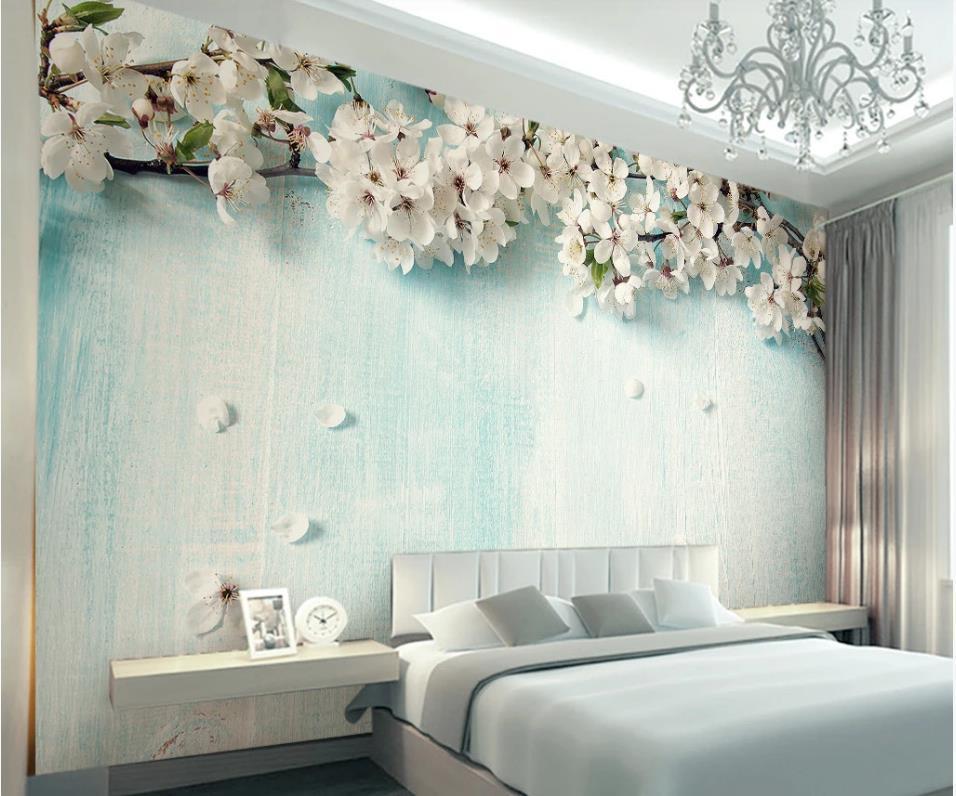 custom 3d photo wallpaper Small fresh blue wood grain cherry blossom 3d stereo TV background wall painting