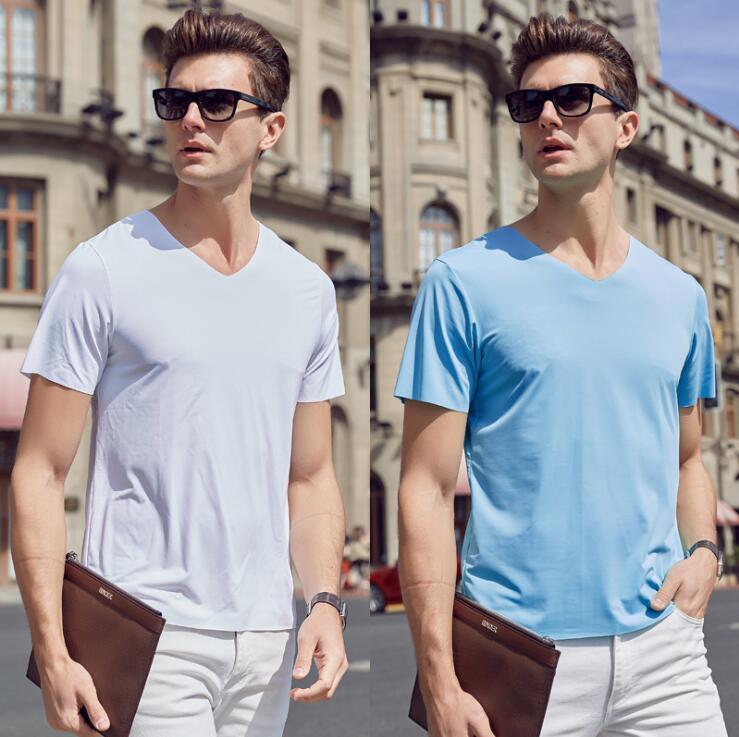 20ss Frankreich Italien Neue heiße Art und Weise Modal-Eis-Silk Brief Pullover Baumwolle Männer Frauen Kurzarm schnelltrocknend