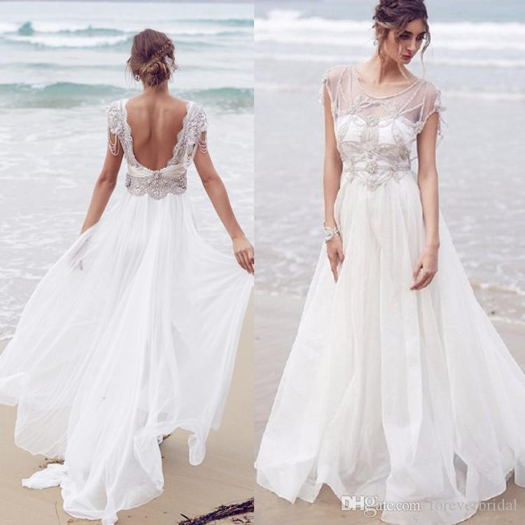 2019 Summer A Line Beach Wedding Dresses Jewel Neck Ivory Lace Applique Bridal Gowns Bohemia Tulle Dress