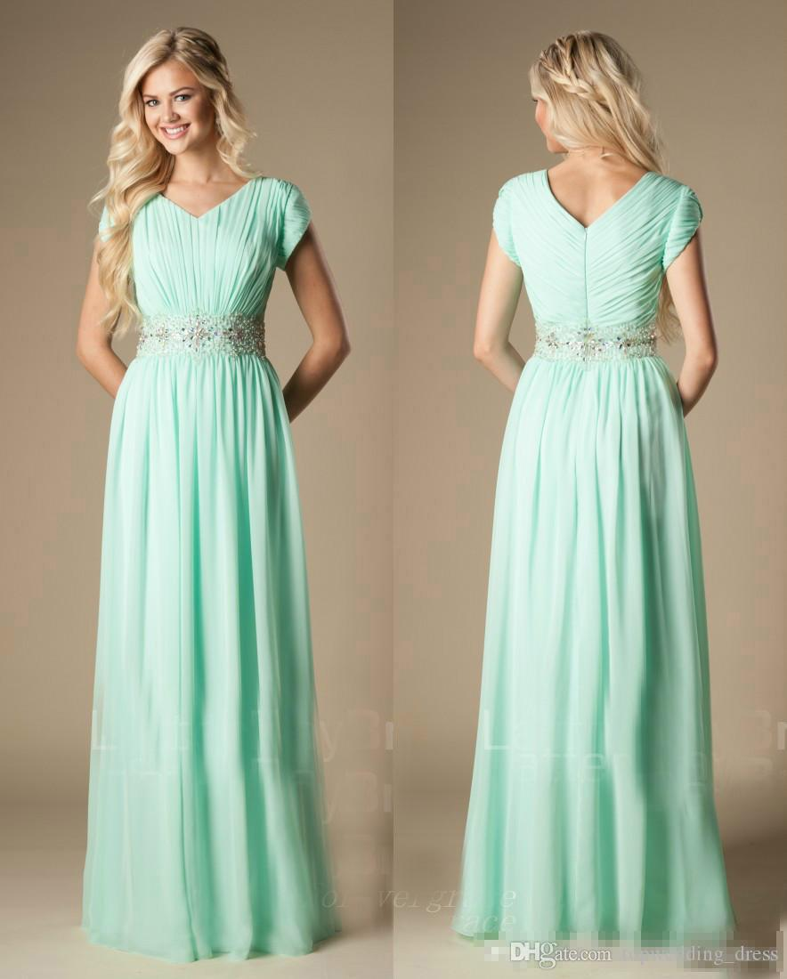 Beaded Mint Green Bridesmaid Dress Modest A Line Chiffon Formal Long Pleats  Maid Of Honor Dress Wedding Guest Gown Custom Made Plus Size Aubergine